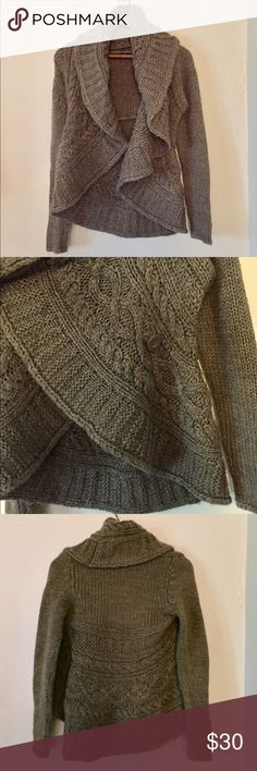 """{Forever21} Large (Cable) Knit Cardigan Size S/P Forever 21 Large Knit Cardigan with Button Closure Detail. Can be worn Open or Closed. Size S/P. Longest Length: Approx 23"""". Acrylic and Wool Blend. In Good Used Condition with Pilling. Color is True to the close up of the Knit. Forever 21 Sweaters Cardigans"""