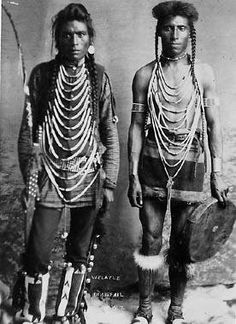 Cree men - 1898.  Adornment neckpieces similar to the Dinka of Southern Sudan, East Africa.
