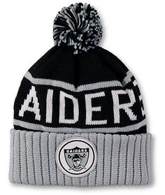 Get a fresh look to turn around your season with an Oakland Raiders jacquard knit text on a black upper and a Raiders logo patch on the cuff. Oakland Raiders, Black And Grey, Nfl, Patches, Beanie, Seasons, Fresh, Logo, Knitting