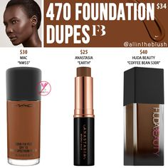 Fenty Beauty 470 Pro Filt'r Soft Matte Longwear Foundation Dupes - All In The Blush Lipstick Dupes, Makeup Dupes, Makeup Brands, Makeup Eyeshadow, Beauty Dupes, Drugstore Beauty, Makeup Kit, Beauty Makeup, Beauty Products