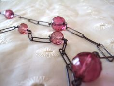 Rose crystal and sterling silver flapper necklace