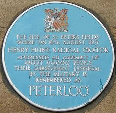 The Peterloo Massacre occurred at St Peter's Field, Manchester, England, on 16 August 1819, when cavalry charged into a crowd of 60,000–80,000 that had gathered to demand the reform of parliamentary representation.
