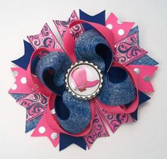 Country Western Denim Hair Bow   Boutique by JustinesBoutiqueBows