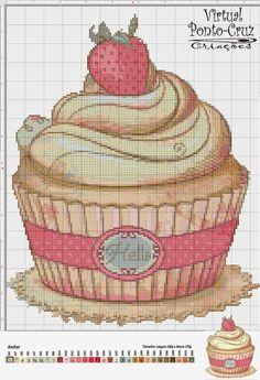 grafico ponto cruz de cupcake - Pesquisa Google