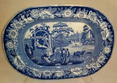 Blue Transferware Philosopher Well & Tree Platter by R. Blue And White China, Blue China, Love Blue, China Products, China Art, Or Antique, Chinoiserie, Pottery Art, 19th Century
