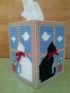 Cats on Windowsill Tissue Box Cover