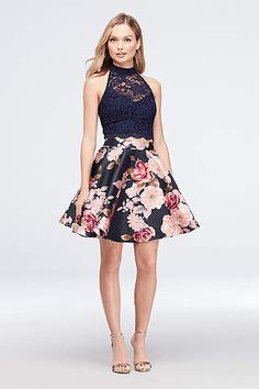 High-Neck Lace and Printed Mikado Two-Piece Dress - Finished with a keyhole deta. - High-Neck Lace and Printed Mikado Two-Piece Dress – Finished with a keyhole detail, a sleeveless, high-neck Source by - Cute Homecoming Dresses, Hoco Dresses, Pretty Dresses, Banquet Dresses, Chiffon Dresses, Two Piece Homecoming Dress, Bridesmaid Dresses, Spring Formal Dresses, Semi Formal Outfits