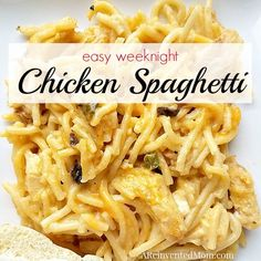 Easy Weeknight Chicken Spaghetti - who says comfort food can't be easy? Longtime ARM family favorite has been simplified making it perfect for weeknights. Chicken Spaghetti Recipes, Chicken Spaghetti Casserole, Classic Chicken Spaghetti Recipe, Recipe For Chicken Spaghetti, Recipes With Shredded Chicken, Baked Chicken Spaghetti, Can Chicken Recipes, Chicken Treats, Chicken Tacos