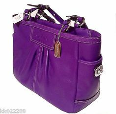 New Coach Leather East West Gallery Tote Handbag Ultraviolet Purple Orchid | eBay