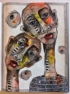 Deb Weiers - Concerned (SOLD) Art Journal Inspiration, Painting Inspiration, Art Inspo, Art Sketches, Art Drawings, Modern Art, Contemporary Art, Wow Art, Portrait Art