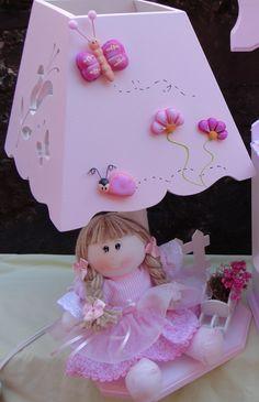 abajur boneca de pano para quarto de bebe