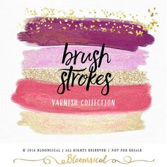 A chic collection of 7 hand painted glitter varnish brush strokes in feminine…