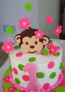 pink green first birthday monkey cake - Bing Images