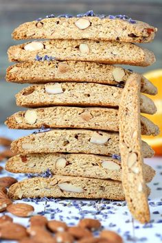 These sweet and crunchy Vegan Biscotti with Provençal Flavors feature dried lavender, citrus zest, and toasted almonds. They have just the right texture for eating alone or dunking in coffee. Vegan Treats, Vegan Foods, Vegan Desserts, Vegan Vegetarian, Vegan Recipes, Eggless Desserts, Citrus Recipes, Italian Recipes, Eating Alone