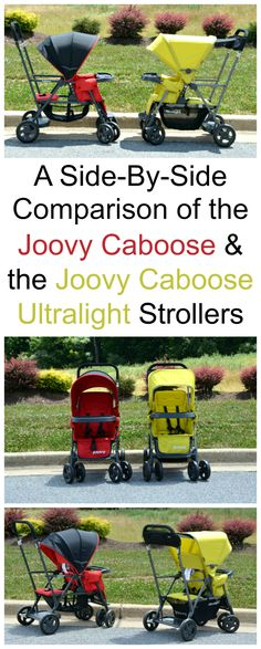 A tside-by-side comparison of the Joovy Caboose and Joovy Caboose Ultralight strollers.