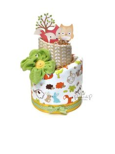 2 Tier- Woodland Diaper Cake, Topsy Turvy Diaper Cake, Woodland Baby Shower, Woodland Decorations, Centerpiece, Fox, Owl, fall baby shower by PrincessAndThePbaby on Etsy https://www.etsy.com/listing/165750108/2-tier-woodland-diaper-cake-topsy-turvy