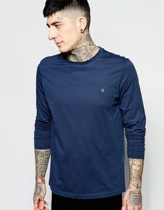 Super cool Farah Long Sleeve T-Shirt with F Logo in Reg Fit - Navy Farah Plain til Herrer til hverdag og til fest