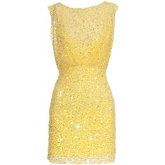 Jenny Packham Yellow Star Sequined cocktail dress ($765) ❤ liked on Polyvore featuring dresses, vestidos, yellow, short dresses, yellow mini dress, yellow sequin dress, yellow dress and short sequin dress