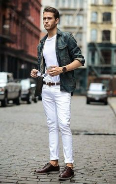 look masculino com calça branca