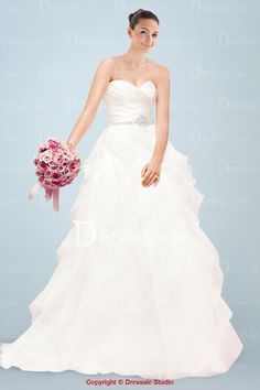 Ethereal A-line Bridal Dress with Beaded Appliques and Ruffles