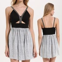 2016 New designer dress with Deep V neck, Sequin trim and girls sexy night dress
