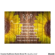 Country Sunflowers Rustic Brown Wood RSVP Wedding 3.5x5 Paper Invitation Card