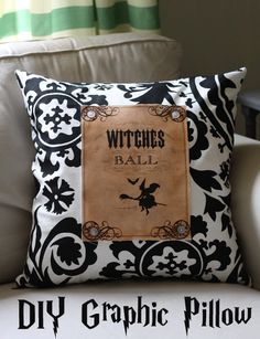 Make a Graphic Halloween Pillow, by Gina Luker for The Graphics Fairy! #DIY #Halloween
