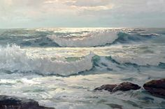 Robert Wood 'Tumbling Surf' 24 x Seascape Paintings, Acrylic Paintings, Robert Wood, Winslow Homer, Craftsman Bungalows, Sea Waves, Heart Art, Paintings For Sale, Art Techniques
