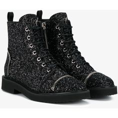Giuseppe Zanotti Glitter Leather Biker Boots (58.110 RUB) ❤ liked on Polyvore featuring shoes, boots, ankle booties, leather lace up boots, moto boots, leather boots, black sparkle boots and black motorcycle boots