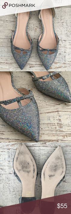 Iridescent Sparkly JCrew Flats Pointy toe flats with holographic sparkly iridescent Shimmer. Like new, worn a handful of times. Selling this pair for a friend. She has another blue JCrew heels as well that are brand new (size 9.5) soooo cute! J. Crew Shoes Flats & Loafers
