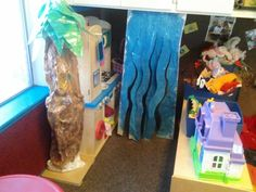 Waterfall painted on paper covered with contact paper hanging from a low cupboard so the kids can run through it like a real waterfall and a tree made the same way to turn the dramatic play area into a jungle