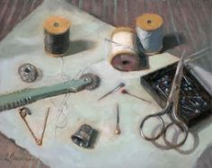 "Linda's Witness in Art: ""Sew"" oil 8x10"