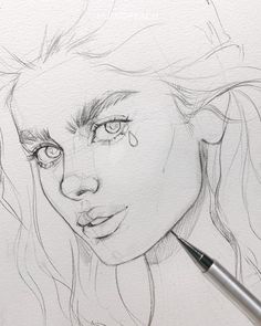 Sketch by Humid Peach. Humid Peach is the name of the artist whose real name is Ksenia Kondyleva. Continue Reading and for more sketch → View Website Cool Art Drawings, Pencil Art Drawings, Realistic Drawings, Art Drawings Sketches, Drawing Ideas, Portrait Sketches, Portrait Art, Art Sketchbook, Sketchbook Inspiration