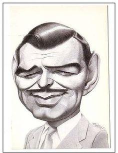 clark gable postcard caricature jean mulatier