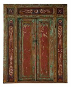 Large Balinese Original Antique Red Green Timber Etched Hand Carved Door- 15A  sc 1 st  Pinterest & Large Balinese Doors Hand Carved Blue Green in NSW | eBay | asian ...