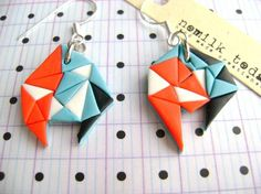 polymer clay earrings -- could make one look like origami?