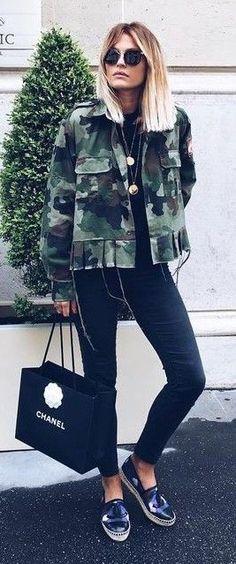 Armt Green Camo Jacket On Black Outfit Idea | Caroline Receveur