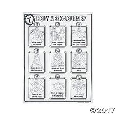 These Color Your Own Holy Week Journey Posters feature the 9 steps in Jesus' Holy Week Journey. From entering Jerusalem to He is risen!, this religious ...