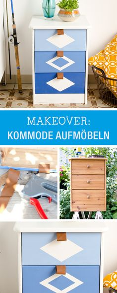 DIY-Inspiration: Kommode mit Farbe und Ledergriffen verschönern / upcycling idea: change a wooden wardrobe with paint and leather handle via DaWanda.com