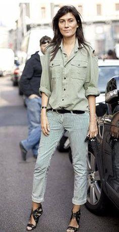 Mix military shirt & stripes, Emmanuelle Alt