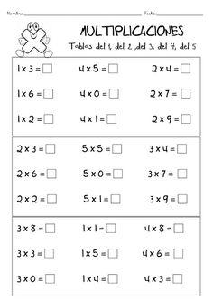Tablas de Multiplicar: Juegos, Para Imprimir, Aprender, Ejercicios