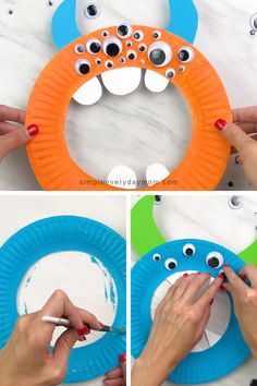 This paper plate monster craft is a fun and simple activity for kids to do any time or specifically for Halloween. It's a non scary way to have fun in October! - Easy Paper Plate Monster Craft For Preschool Halloween Crafts For Kids, Crafts For Kids To Make, Craft Activities For Kids, Art For Kids, Kids Diy, Craft Ideas, Vintage Halloween, Crafts For Babies, Easy Crafts For Toddlers