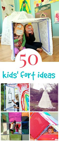 So many awesome kids' fort ideas here using a simple tube and connector construction kit that is both easy for kids to use and builds BIG.