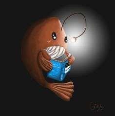 an anglerfish reading TFiOS. must be nice to have your own book light. DFTBA