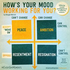 Take sometime for a quick mood check each day. Which quadrant are you in now ? Where do you want to be ?