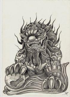 Foo Dog Tattoo Meaning › Harhakuva Moon Scorpion Foo Dog Tattoo