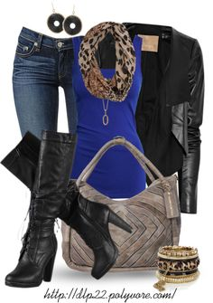 """Wild"" by dlp22 on Polyvore. Not fond of the outfit, but I really like the royal with animal print!"