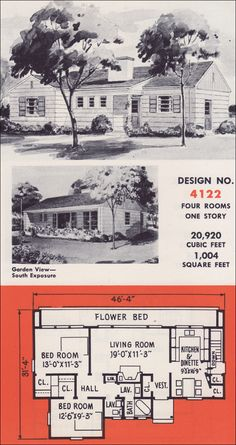 Weyerhauser 4-Square Design No. 4122 - 1950s Home Plans - Modern Two-story Box Type