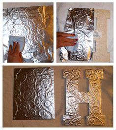 DIY Antiqued Foil Monograms