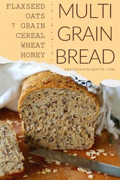 Hearty multigrain bread recipe full of wholesome ingredients like flax, sunflower seeds, and whole grains. A generous splash of honey gives it just enough sweetness. Soft, chewy slices make a delicious sandwich or the crunchiest toast imaginable. Healthy Homemade Bread, Wheat Bread Recipe, Homemade Sandwich, Sandwich Bread Recipes, Bread Maker Recipes, Healthy Bread Recipes, Cooking Recipes, Homemade Breads, Cooking